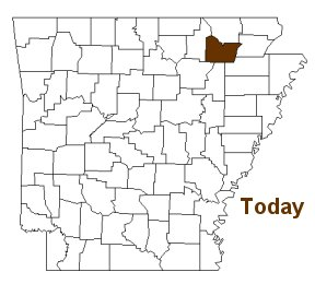 Map of Lawrence County, Arkansas - Today